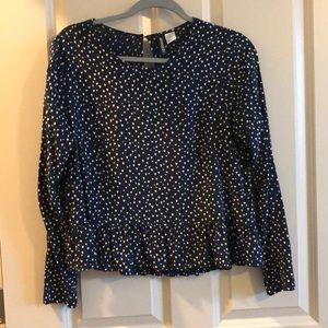 Navy blue top with hearts